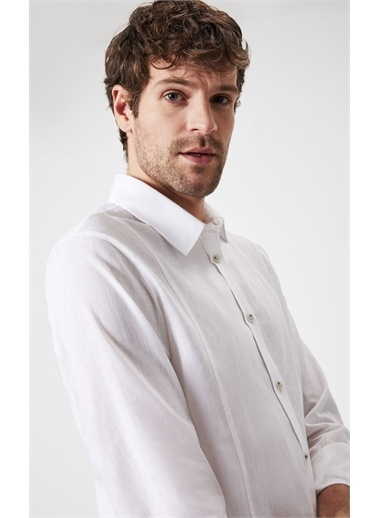 Boris Becker Boris Becker Uzun Kol Gömlek Yaka Çift Çizgili Düz  Erkek Gömlek Beyaz